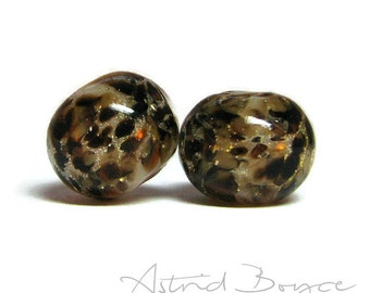 Wild Thing artisan art glass beads lampwork  bead pair  - SRA B 195 -  Patterns for your Inner Animal to create Art Jewelry and for crafting