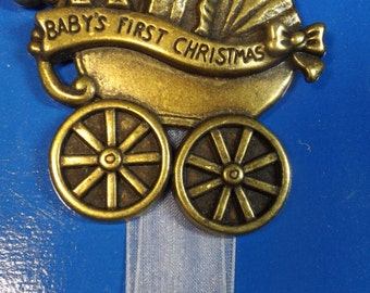 """Christmas brass ornament in original box """" Baby's first Christmas"""". New old stock.Made in USA gift."""