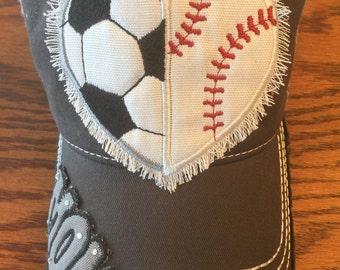 Baseball/Soccer Hat-Mom, Baseball, Soccer, Ball, Softball, Sports