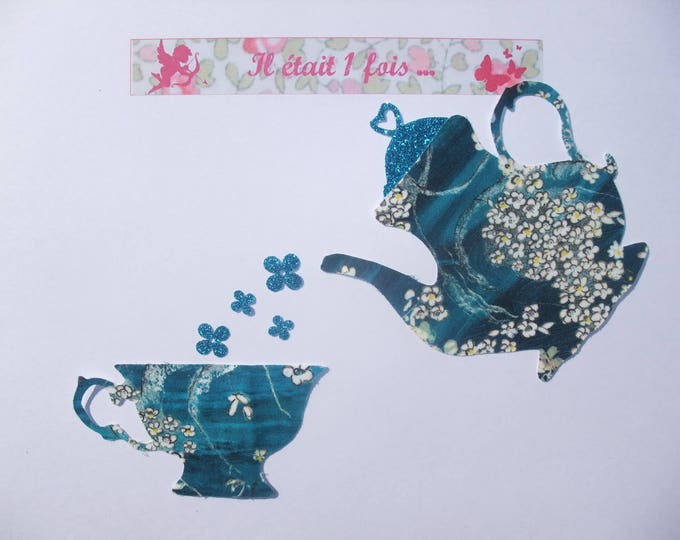 Applied fusing teapot Teacup liberty blue flex Pamela Judith glittery fusible applique liberty pattern coat kitchen