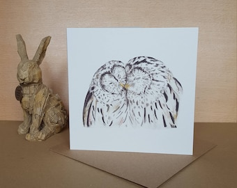 Barred Owls in Love Greeting Card - Special occasion card - Blank greeting card - Owl Card - Birthday Card
