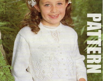 First Communion, Girls Cardigan, Vintage Knitting Pattern, Girls Knitted Sweater, PDF Instant Download