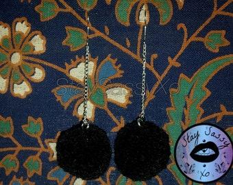 Black Pom-Pom Drop Earrings
