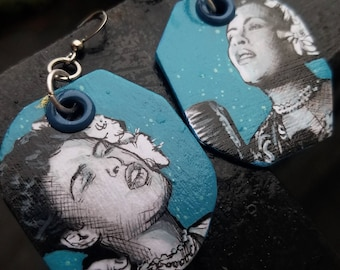 Billie Holiday Jazz Singer Icon hand-painted earrings