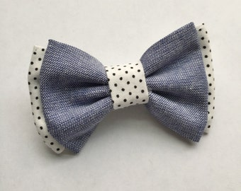 Jean and Black & White dot BOW