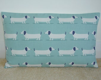 "12x18 Oblong Bolster Dachshund Pillow Cover Duck Egg 18""x12"" Dachsunds Dogs Wiener Dog Blue Dachshunds Cushion Slip Sham Case Sausage Weiner"