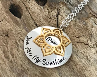 You Are My Sunshine Personalized Necklace | Mother Or Daughter Sunshine Necklace | My Only Sunshine Gift For Her