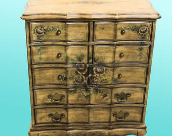 Floral Lingery Chest Of Drawers - Mid Century Chest - Vintage Chest