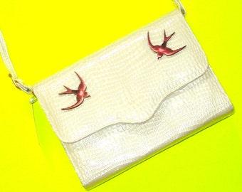 Swallow Soaring Topaz Cream Faux Snakeskin Patent Leather Vintage Refurbished One of a Kind Rockabella Handbag Shoulder Purse