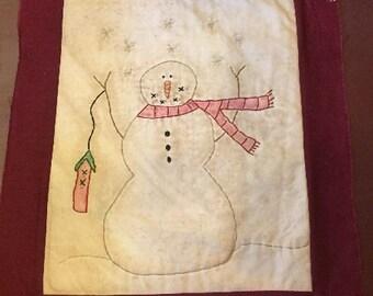 Snowman with Birdhouse Stitchery E-Pattern