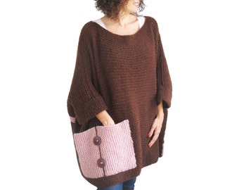 Plus Size - Over Size Sweater Brown - Pink Hand Knitted Sweater with Pocket Tunic - Sweater Dress by Afra