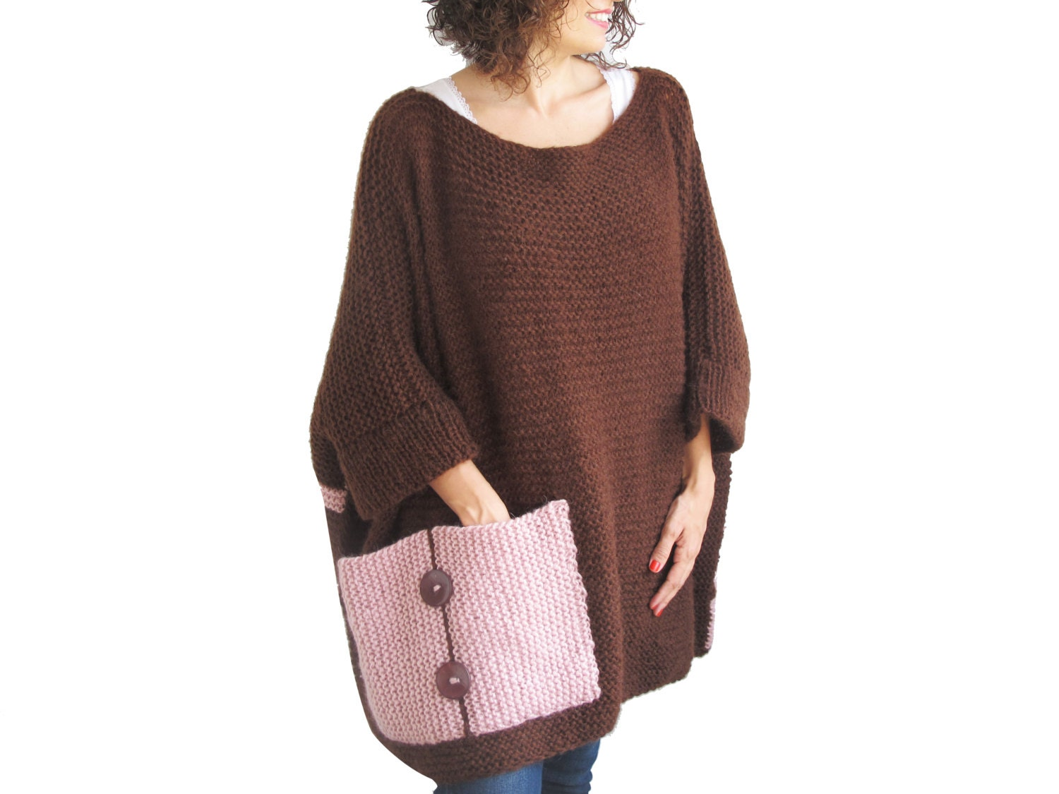 Plus Size Over Size Sweater Brown Pink Hand Knitted