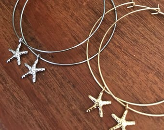 Mothers Day Gift Hoop Earrings Thin Silver Gold Hoop Earring Starfish Pineapple Shell Charm Boho Beach Pierced Earring Bridesmaids Jewelry