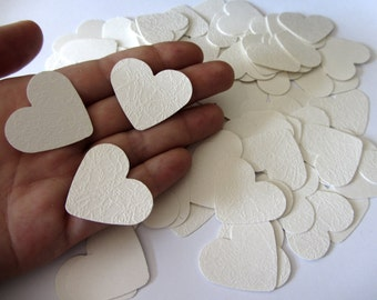 Wedding table confetti hearts - Ivory- White hearts - die cut hearts - paper heart confetti - weddings - medium sized paper hearts