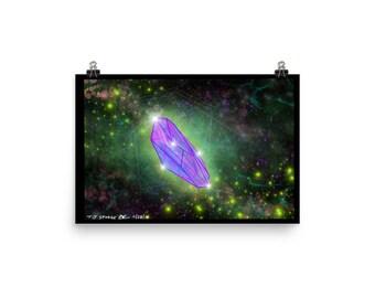 Crystal Poster Healing Wall Art Cosmic Nebula Print