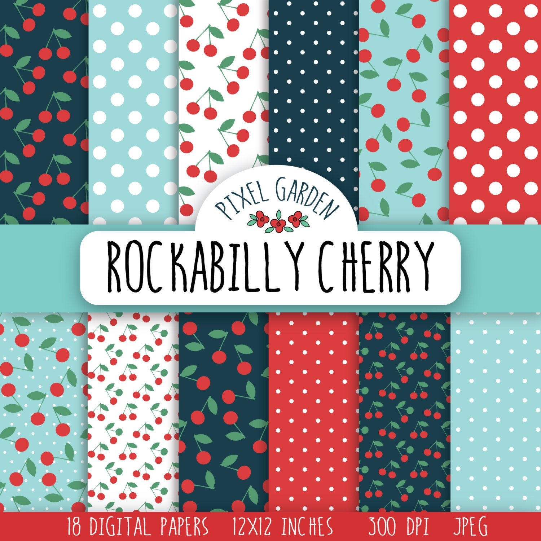 Rockabilly Cherry Digital Paper Pack Retro