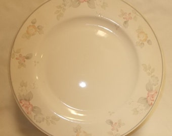 Wyndham Pfaltzgraff Dinner Plate Vintage USA Stoneware Dinnerware Replacement Dinner Plate Pink Grey Floral Rim Free & Set of 4 Dinner Plates Pfaltzgraff Village Beige Brown Early