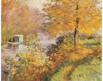 Hand-cut wooden jigsaw puzzle. STUDIO BOAT. Claude Monet. Impressionist. Impressionism. Wood, collectible. Bella Puzzles.