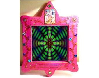 Mirror pink Krishna - decorative mirror - Indian - cardboard mirror mirror