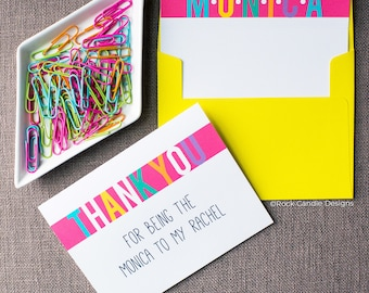 Thank You For Being The Monica To My Rachel Friends Greeting Card | Rachel Green | Friends Show | Card For Best Friend | Monica Geller Card