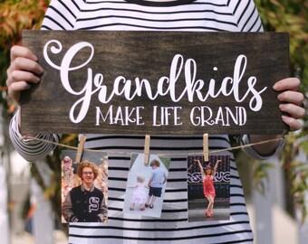 Grandkids Make Life Grand / Photo Sign / Grandparents / Christmas Gift / Handpainted Wood Sign / Family Photo Display