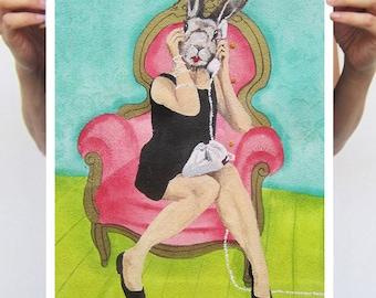 Rabbit Print, Rabbit Art Print, Rabbit Bunny Print, Rabbit Art, Bunny Print, Rabbit Wall Art, 11x17, Women,Telephone, Wall Art, Art Print