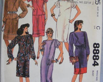 1980's Misses' Dress / Top / Skirt / Sash Uncut McCall's Sewing Pattern 8884 Size 16 18