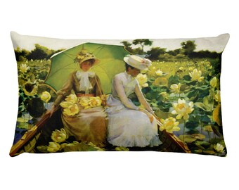 "Lotus Lilies by Charles Courtney Curran 20"" x 12"" Rectangular Art Throw Pillow"