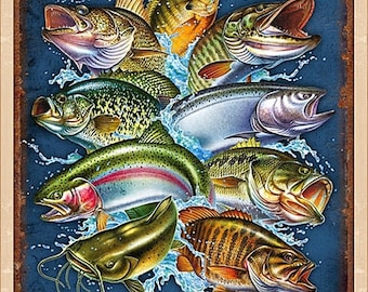"""Quilting Treasures """"So Many Fish, So Little Time"""" 25922-E Fabric Panel 23 1/2"""" x 44"""""""