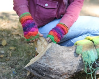 Multicolor Wool Fingerless Mittens, Green Orange Pink Purple Gloves. Shell Winter Arm Warmers. Handmade Crochet Women Wool Gloves.