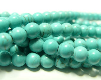 Turquoise Howlite 6mm 10 beads