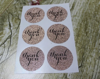"24pcs - 1.5"" THANK YOU glitter rose gold Classic Round Sticker - Envelope seal"