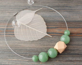 Geometric Wood and Glass Necklace, Glass bubble necklace, Faceted Wood Bead Necklace, Bubble Jewelry, DarkSeaGreen beads, Pastel necklace