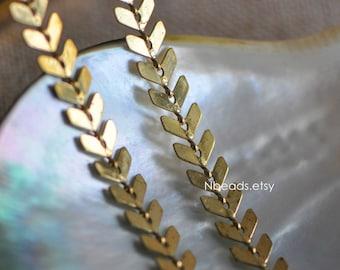 Unplated Raw Brass Designer Arrow Chain 6.5mm, Flat Chevron Chain, Herring bone Fish bone Chain (#LK-034)/ 1 Meter=3.3ft