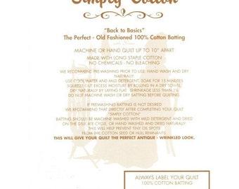 "Fiberco 100% Simply Cotton Wadding / Batting with scrim 90"" inch wide 4oz - UK Shop"