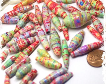 Pastel Multicolor Paper Beads, Multicolor Rolled Paper Beads, Craft Supplies, Jewelry Supplies, DIY, Boho Components, Beads Spring Colors