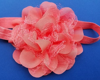 Chiffon and lace flower headband for baby girl
