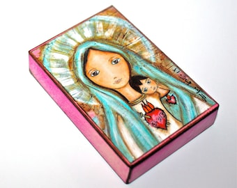 Immaculate Conception with Child -  Giclee print mounted on Wood (4 x 5 inches) Folk Art  by FLOR LARIOS