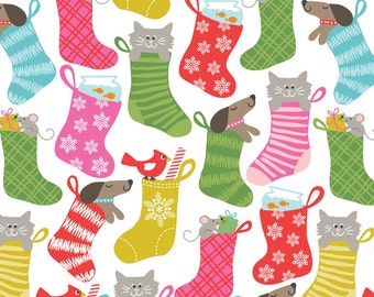 Even A Mouse Christmas Holiday Fabric Animal Pets Stocking Stuffer Bright Multicolored Stockings on White