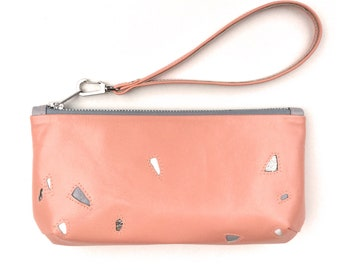 Terrazzo clutch in coral leather with detachable wrist strap handmade in England by Helen Vallance HV0116