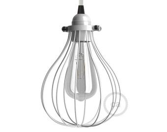 White bulb cage pendant light bare bulb