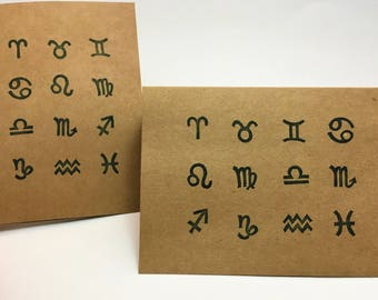 "Hand Stamped Zodiac Symbols Blank Cards With Envelopes (4"" x 5.5"")"
