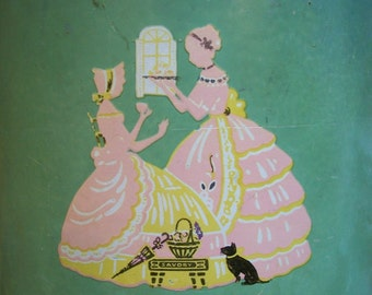 Vintage Southern Belle Ladies Shabby Tin