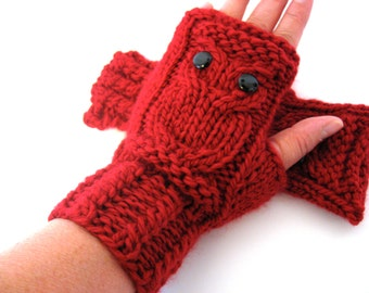 READY TO SHIP / Owl Fingerless Gloves Mittens - Merino Wool Chunky - Red Ruby