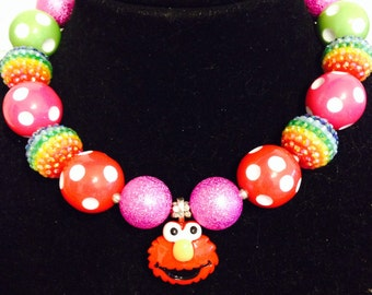 Elmo inspired bubblegum chunky necklace