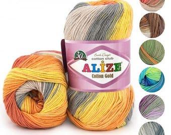Yarn Alize Cotton Gold batik yarn cotton yarn cotton thread batik yarn colorful yarn multicolor yarn melange yarn rainbow yarn crochet