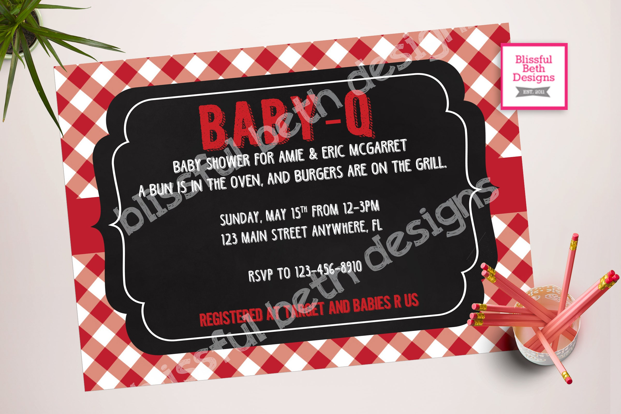 Baby Q Baby Shower Invitation Package BABY Q Shower Invitation Bun In The  Oven, Burgers On The Grill Baby Q, BBQ