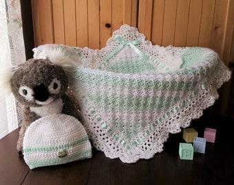 Crochet Baby Blanket, Baby Boy Blanket and Hat set, Baby shower gift,