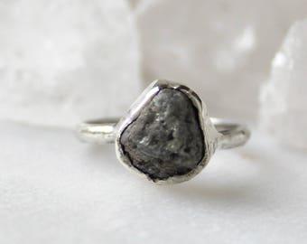 diamond ring, raw diamond, rough diamond, recycled silver, alternative engagement ring, huge diamond
