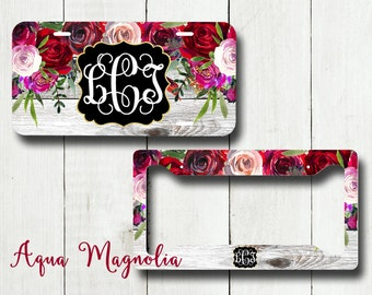 Watercolor Red - Purple - Burgundy Roses - Personalized License Plate - Weathered Wood - Car Tag - Monogrammed License Plate Frame